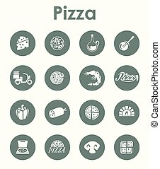 Set of pizza simple icons