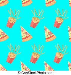 Set of pizza slices with different toppings. French fries. Vector fast food illustration. Seamless pattern.