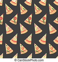 Set of pizza slices with different toppings. Vector illustration. Seamless patte