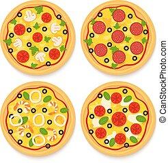 set of pizzas
