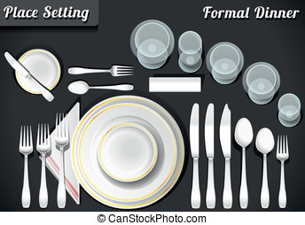 Set of Place Setting Formal Dinner - Detailed Illustration...