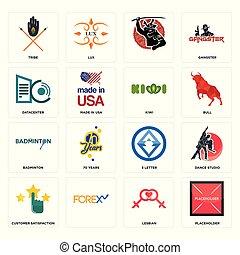 Set of placeholder, lesbian, customer satisfaction, 3 letter, badminton, kiwi, datacenter, , tribe icons