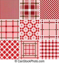 Set of plaid patterns, fabrics