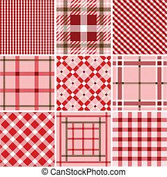 Set of plaid patterns, fabrics