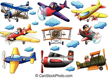 Set of planes in different colours on a white background