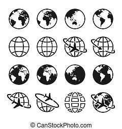 Set of planet Earth icons. Globe sign. Air travel, transportation and delivery concept.