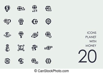 Set of planet with money icons