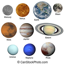 set of planets isolated on white background. Elements of this image furnished by NASA