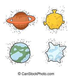 Set of planets on a white background: the Moon and Saturn, ice planet. Vector illustration