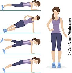 Set of plank exercise. Girl doing different exercises plank....