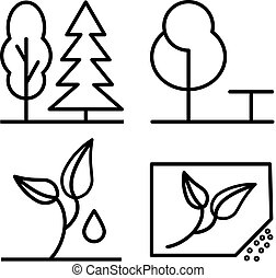 Set Of Plants And Trees Thin Line Icon 48x48. Simple Minimal Pictogram