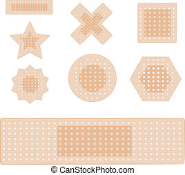 set of plasters isolated on white