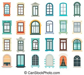 Set of plastic and wooden window frames