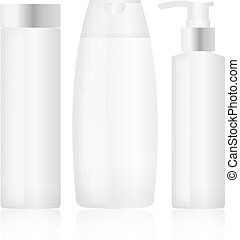 Set of plastic bottles. Cosmetic packaging. Vector
