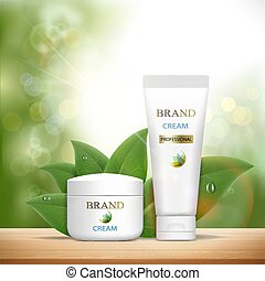 Set of plastic containers with cosmetic cream. Skin Care ads tem