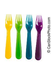 set of plastic forks.