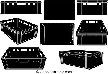 Set of plastic fruit and vegetables crates in different positions