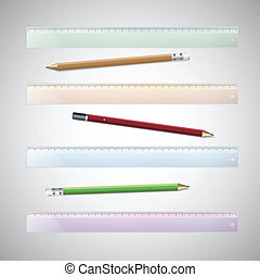 Set of plastic rulers and pencils