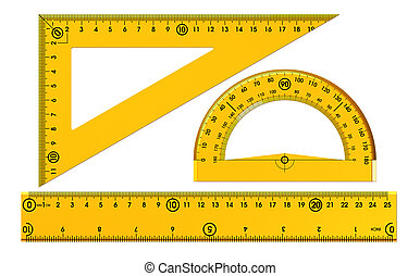Set of plastic rulers isolated on white background