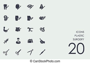 Set of plastic surgery icons