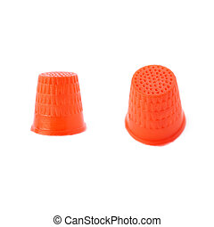 Set of Plastic thimble isolated over the white background