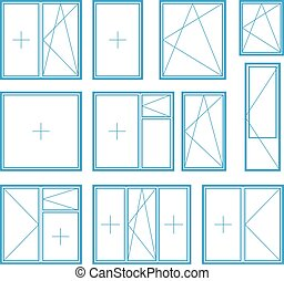 Set of plastic window frame symbol Vector