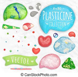 Set of plasticine objects