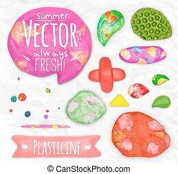 Set of plasticine sings - Set of vector plasticine design...