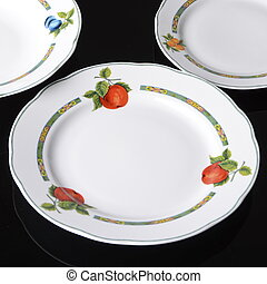 set of plates empty isolated