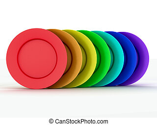 Set of plates in colours a rainbow. 3D image.