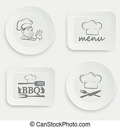 set of plates on a white background
