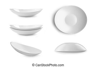 Set of plates on white background