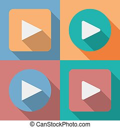 Set of play button icons with a long shadow