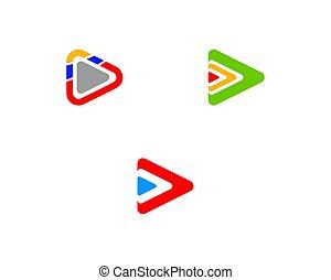 Set of Play logo vector illustration template