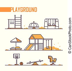 Set of playground elements - modern vector isolated objects