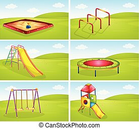 Set of playground equipments