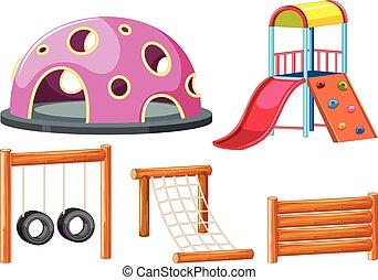 Set of playground equipments illustration