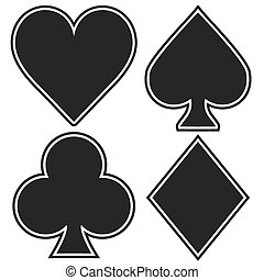 Set of playing card four symbols on white background