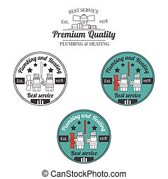 Set of plumbing and heating vintage labels. Outdoor for you company logo design. Central heating system icon symbol. Heating and plumbing  badge. Vector.