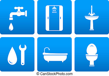 set of plumbing engineering icons with blue buttons