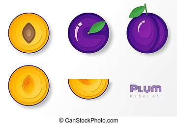 Set of plums in paper art style