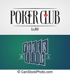 Set of poker, casino vector icon, logo