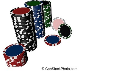 Set of poker chips of different colors isolated on white background.
