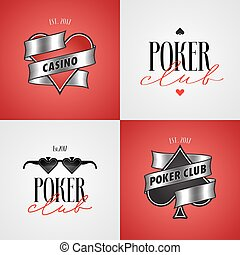 Set of poker club, casino vector logo, symbol. Template...