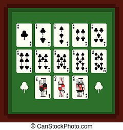 set of poker playing cards of club suit on green table