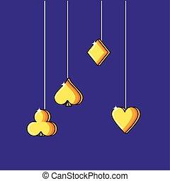 set of poker symbols hanging