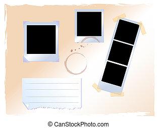 set of polaroid on board