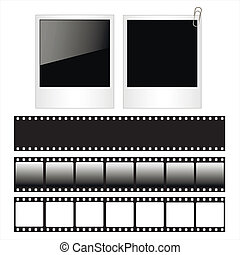 Set of polaroid photo frames and film strips isolated on...