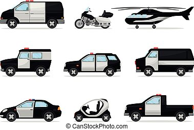 Set of police vehicles. Vector illustration on a white background.