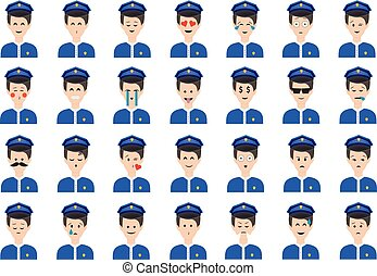 Set of policeman emoticon vector isolated on white background.